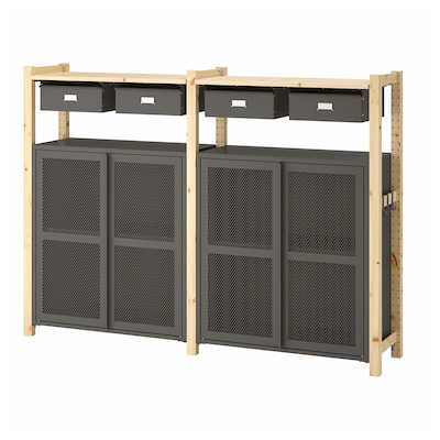"IVAR 2 section storage unit w/cabinets, pine/gray mesh, 68 7/8x11 3/4x48 7/8 """