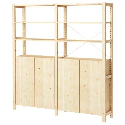 "IVAR 2 section shelving unit w/cabinet pine 68 1/2 "" 11 3/4 "" 70 1/2 """