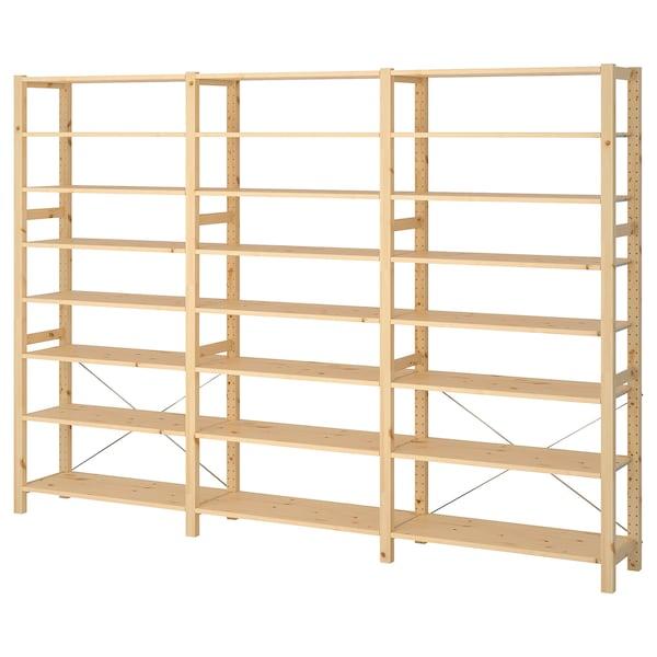"IVAR 3 section shelving unit, pine, 102x11 3/4x70 1/2 """