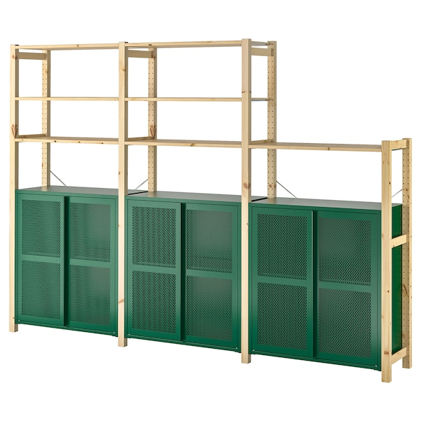 "IVAR 3 section shelving unit w/cabinets, pine/green mesh, 102x11 3/4x70 1/2 """
