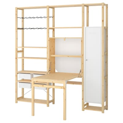 IVAR 3 section unit with foldable table, pine/white, 86 1/4x11 3/4-41x89 ""