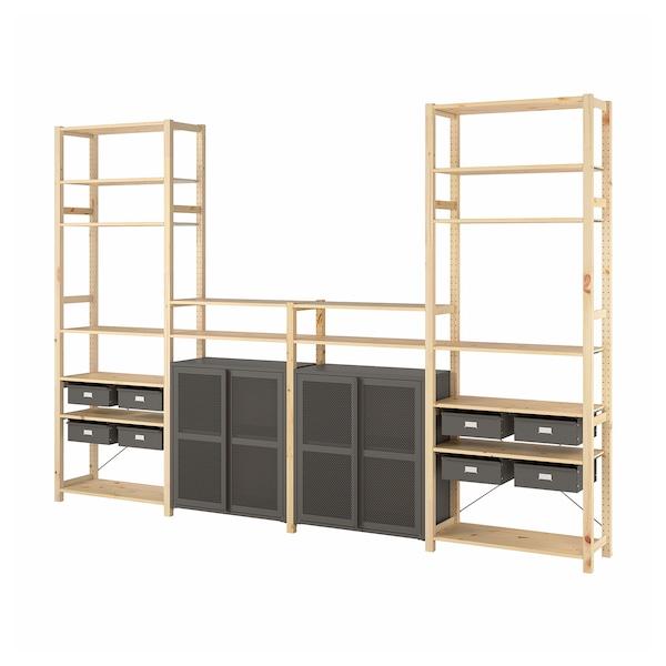 "IVAR 4 section storage combination, pine/gray mesh, 135 3/8x11 3/4x89 """