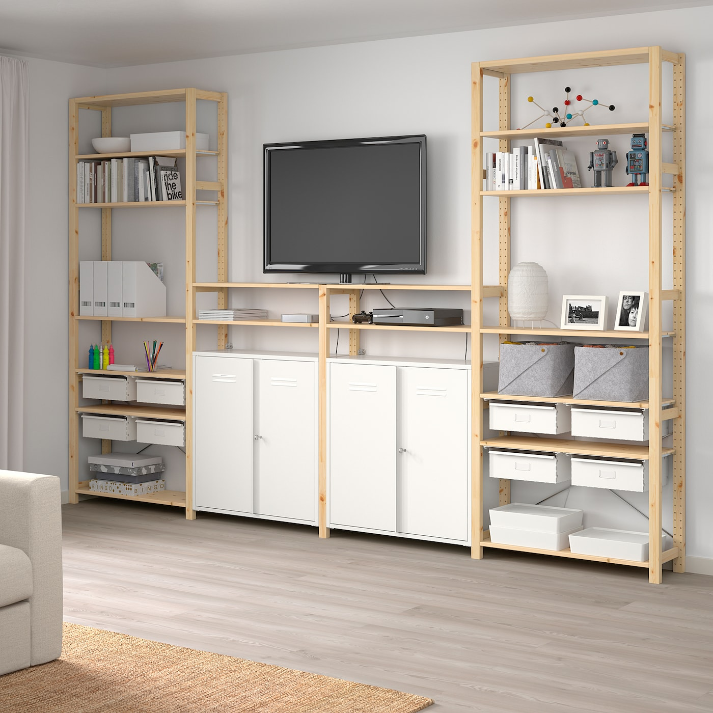 "IVAR 4 section storage combination, pine/white, 135 3/8x11 3/4x89 """