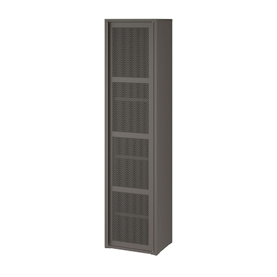 IVAR Cabinet with door, gray mesh, 15 3/4x63 ""