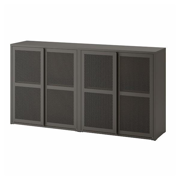 """IVAR Cabinet with doors, gray mesh, 63x11 3/4x32 5/8 """""""
