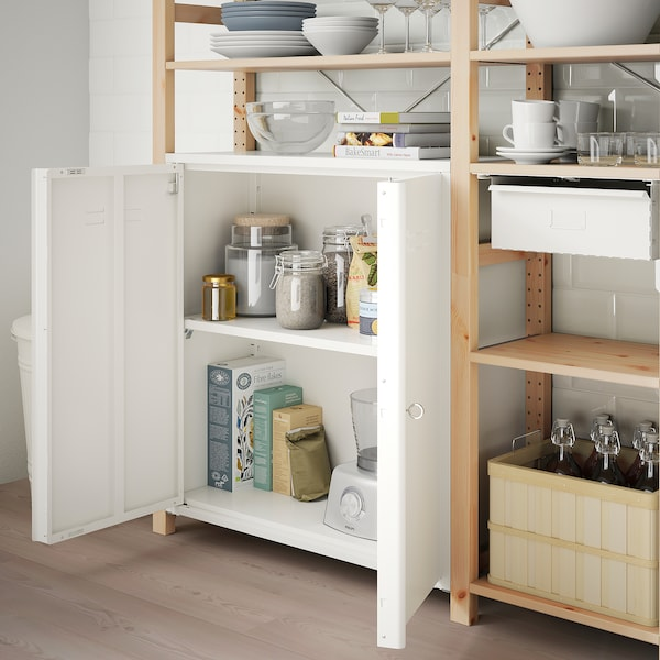 """IVAR Cabinet with doors, white, 31 1/2x32 5/8 """""""