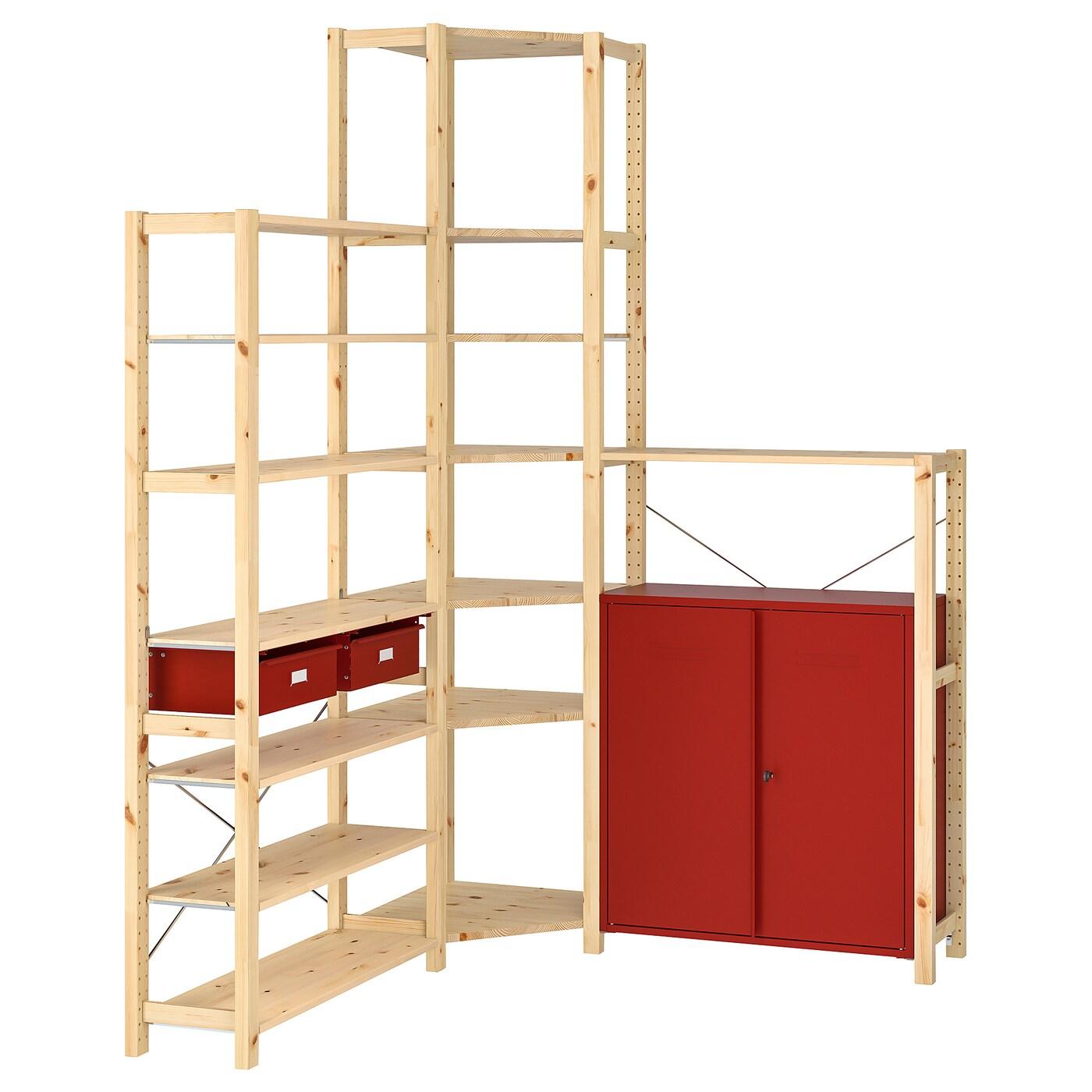 Ivar Corner Shelf Unit W Cabinet Drawers Pine Red 57 1 8 57 1 8x11 3 4x89 Ikea,Reflections Bedroom Set