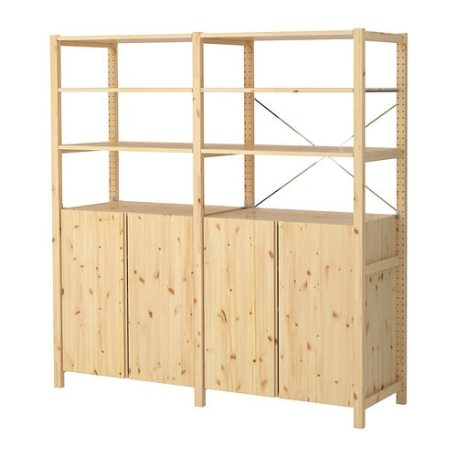 IVAR 2 section shelving unit w/cabinet - 68 1/2x19 5/8x70 1/2