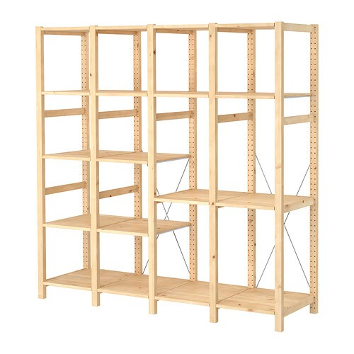 IVAR 4 section shelving unit IKEA Untreated solid pine is a durable natural material that can be painted, oiled or stained according to preference.