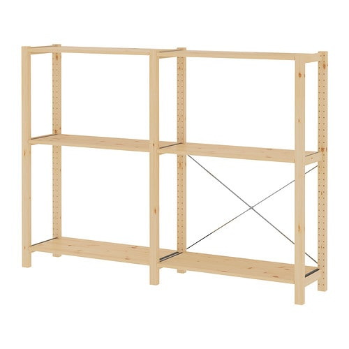 IVAR 2 section shelving unit IKEA Untreated solid pine is a durable natural material that can be painted, oiled or stained according to preference.