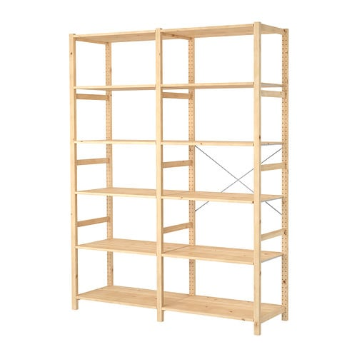 IVAR 2 sections/shelves IKEA Untreated solid pine is a durable natural material that can be painted, oiled or stained according to preference.