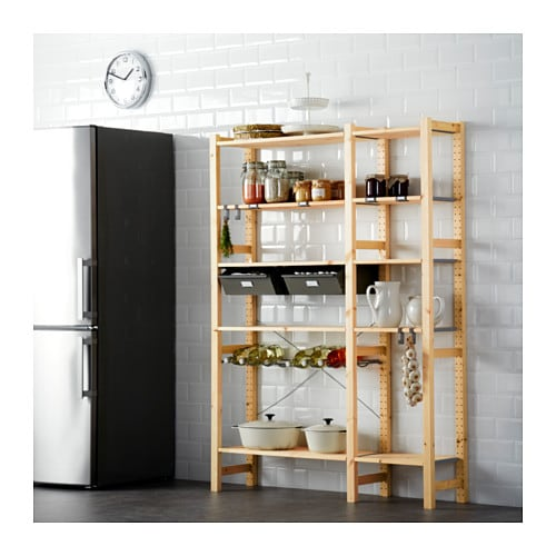 IVAR 2 sections w/shelves & drawers, pine, gray