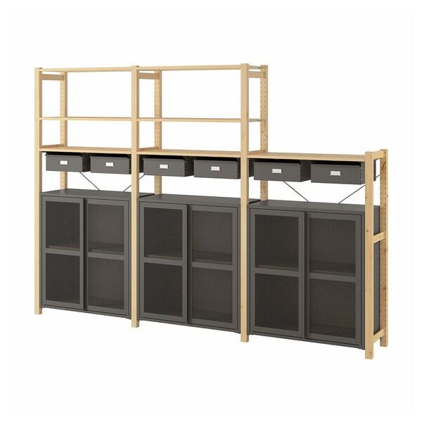 "IVAR Shelf unit w cabinets/drawers, pine/gray mesh, 102x11 3/4x70 1/2 """