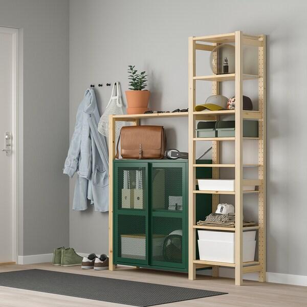 "IVAR Shelf unit w cabinets/drawers, pine/green mesh, 52 3/4x11 3/4x70 1/2 """