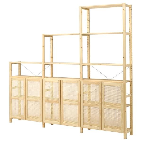 "IVAR Shelf unit with doors, pine, 102x11 3/4x89 """