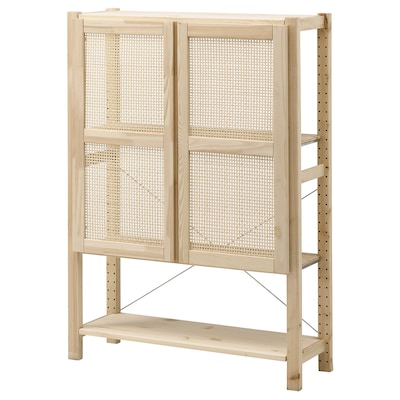 IVAR Shelf unit with doors, pine, 35x11 3/4x48 7/8 ""