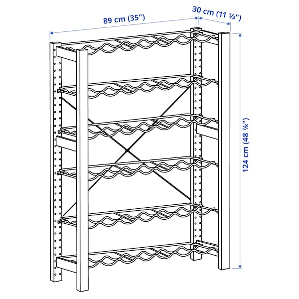 "IVAR Shelving unit with bottle racks, pine/gray, 35x11 3/4x48 7/8 """