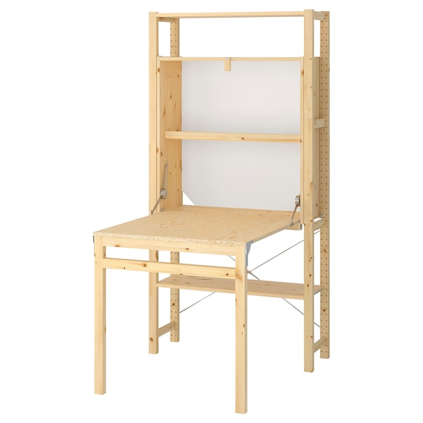 IVAR Shelving unit with foldable table, 35x11 3/4-41x70 1/2 ""