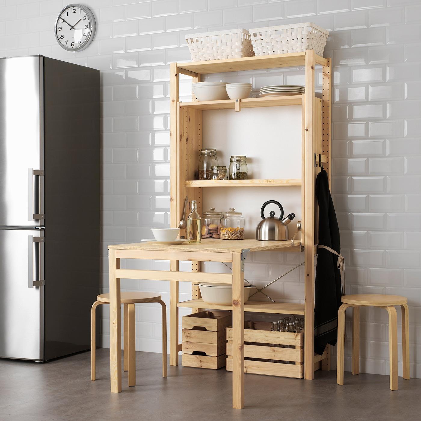 """Armoire Gain De Place ivar storage unit with foldable table - pine 31 1/2x11 3/4-41x61 """""""