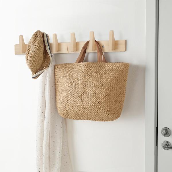 JÄNKARE Rack with 6 hooks, wood natural