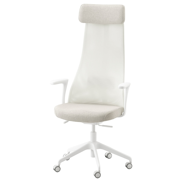 "JÄRVFJÄLLET office chair with armrests Gunnared beige/white 243 lb 26 3/4 "" 26 3/4 "" 55 1/8 "" 20 1/2 "" 18 1/8 "" 17 3/4 "" 22 """