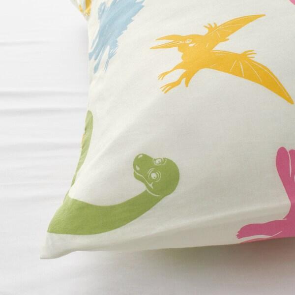 JÄTTELIK Duvet cover and pillowcase(s), dinosaur/multicolor, Twin
