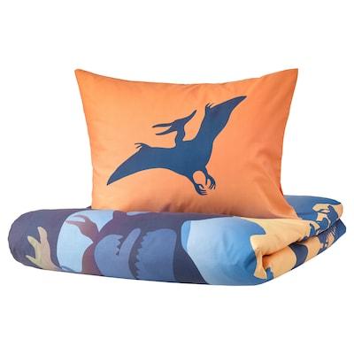 JÄTTELIK Duvet cover and pillowcase(s), Dinosaurs at sunrise orange/blue, Twin