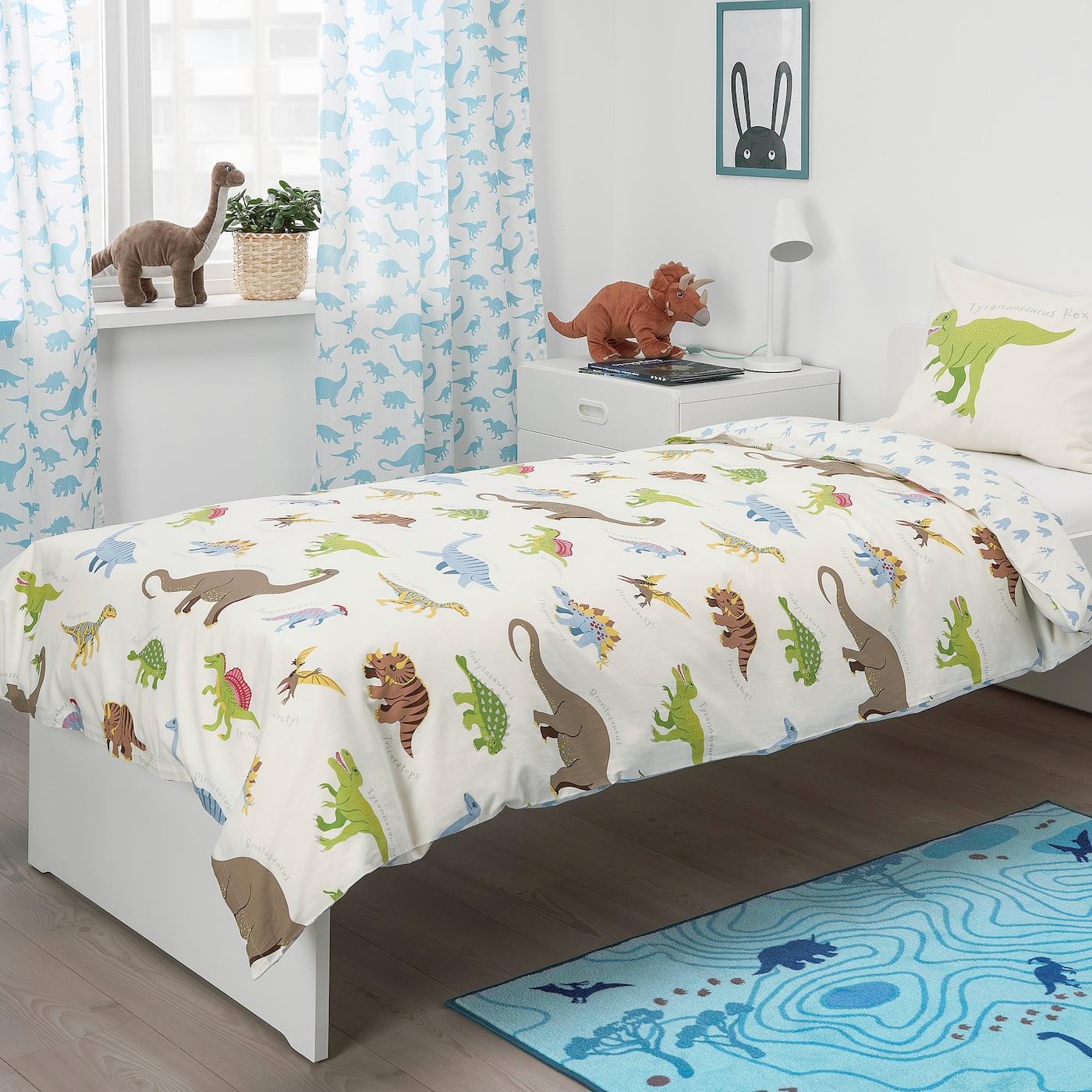JÄTTELIK Duvet cover and pillowcase(s), Dinosaurs/white, Twin