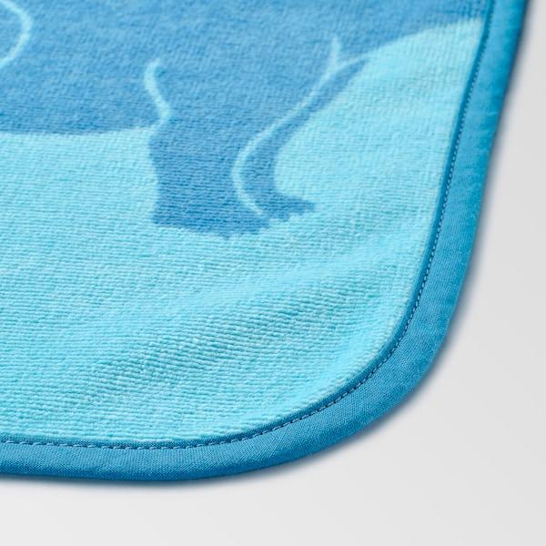 """JÄTTELIK Towel with hood, dinosaur/blue, 55x28 """""""