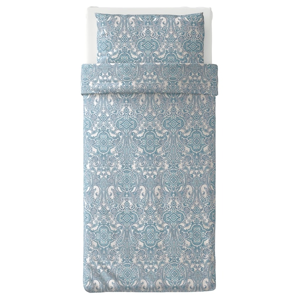 "JÄTTEVALLMO duvet cover and pillowcase(s) white/blue 152 /inch² 1 pack 86 "" 64 "" 20 "" 30 """