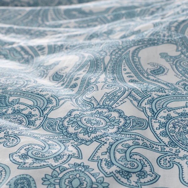 JÄTTEVALLMO Duvet cover and pillowcase(s), white/blue, Full/Queen (Double/Queen)