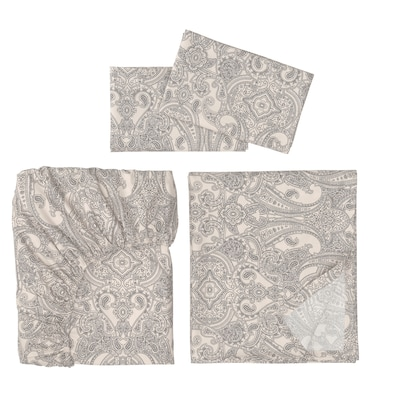 JÄTTEVALLMO Sheet set, beige/dark gray, Queen