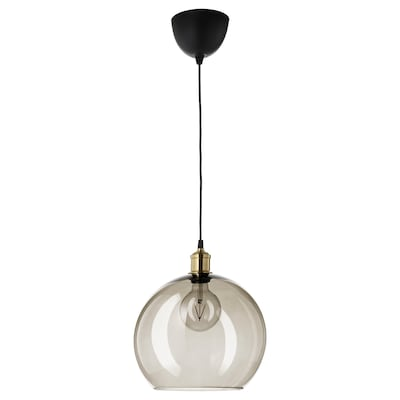 JAKOBSBYN / JÄLLBY Pendant lamp, smoked glass/brass plated