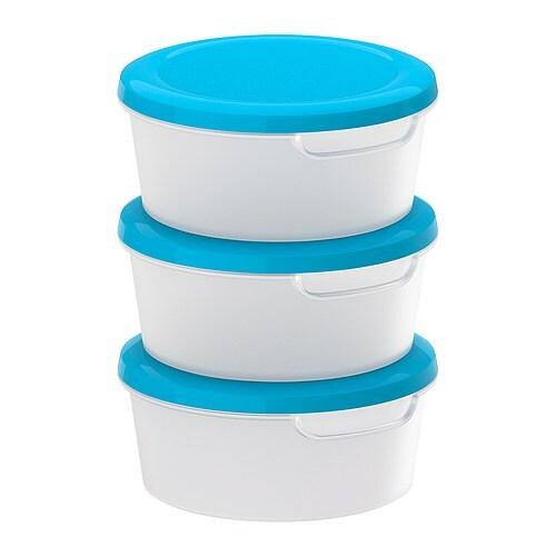 JÄMKA Food container, transparent white, blue