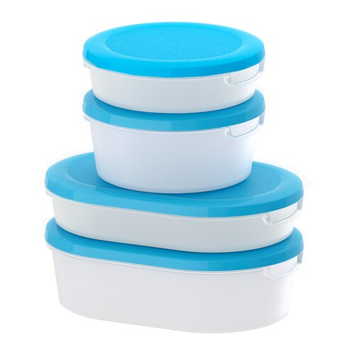 JÄMKA Food container with lid, set of 4, transparent white, blue