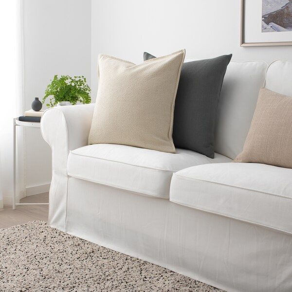 "JOFRID Cushion cover, natural, 20x20 """