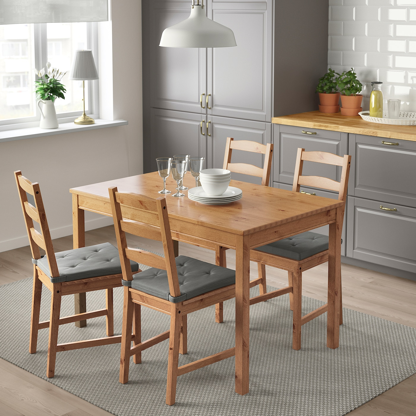 JOKKMOKK Wooden Dining Table /& 4 Chairs,Solid Pine,Antique Stain,Fast Delivery