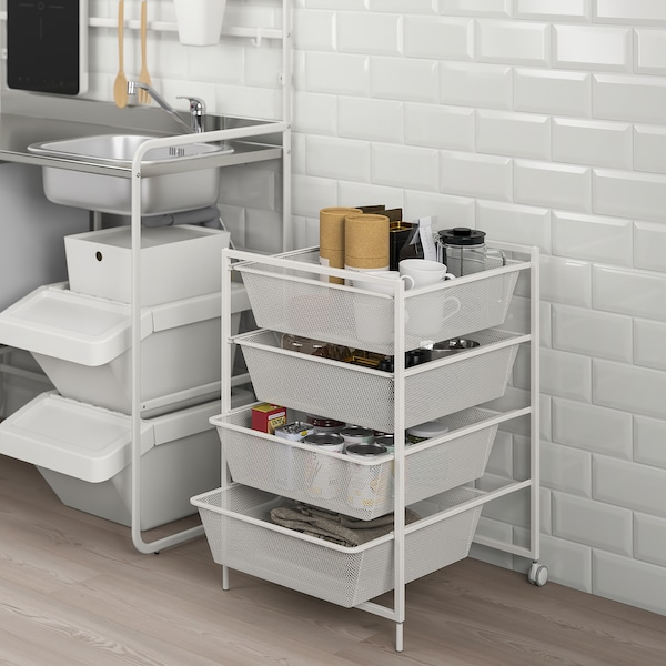 """JONAXEL Frame with mesh baskets/casters, white, 19 5/8x20 1/8x28 3/4 """""""