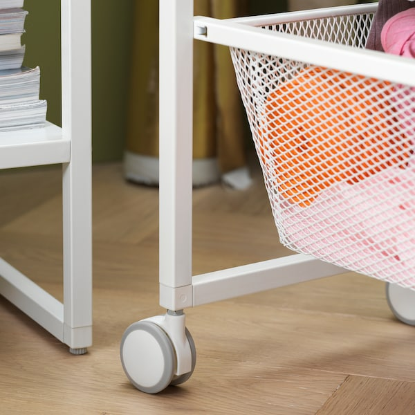 """JONAXEL Frame with mesh baskets/casters, white, 9 7/8x20 1/8x28 3/4 """""""