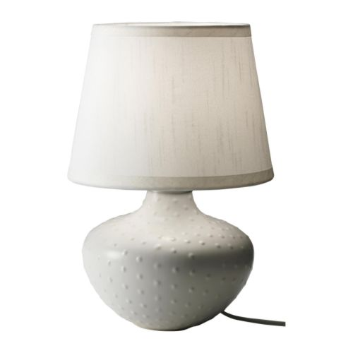 "JONSBO ILSBO Table lamp, white, beige Total height: 13 "" Shade diameter: 9 "" Cord length: 86 ""  Total height: 32 cm Shade diameter: 22 cm Cord length: 218 cm"