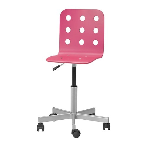 Jules junior desk chair pink silver color ikea for Bureau stoel