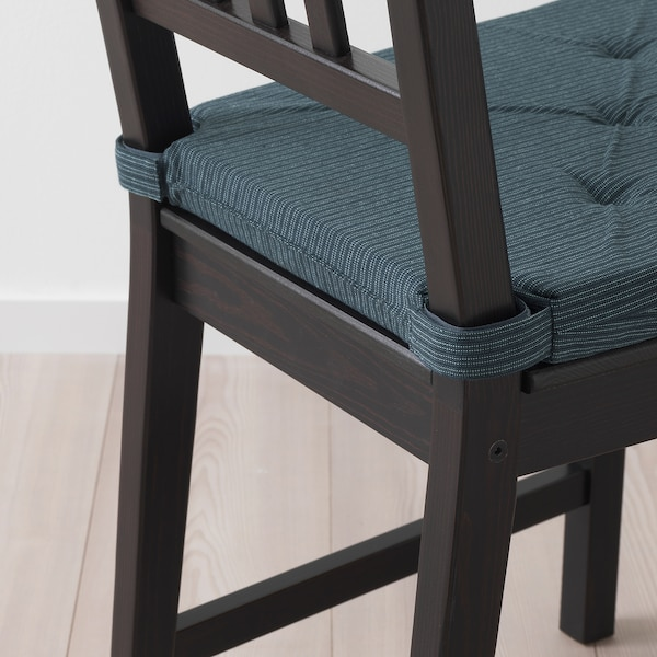 """JUSTINA Chair pad, dark blue/stripe, 17/14x16x2 """""""