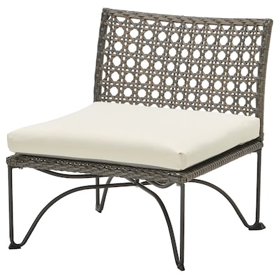 JUTHOLMEN Chair, outdoor, dark gray/Kuddarna beige, 25 5/8x28 3/4x28 ""