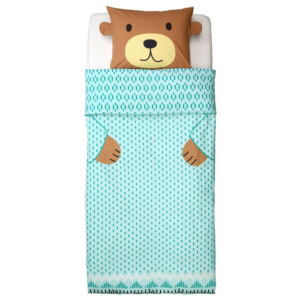 KÄPPHÄST Duvet cover and pillowcase(s), bear turquoise, Twin