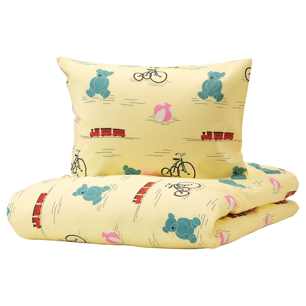 KÄPPHÄST Duvet cover and pillowcase, toys yellow, Twin