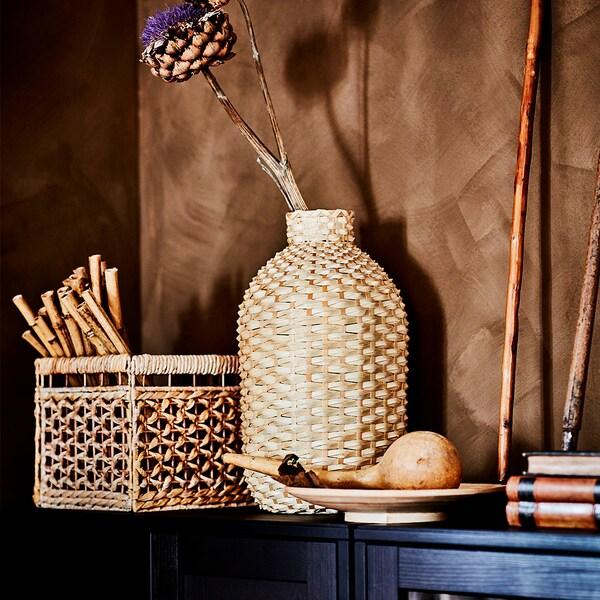 "KAFFEBÖNA Decorative vase, bamboo, 24 """