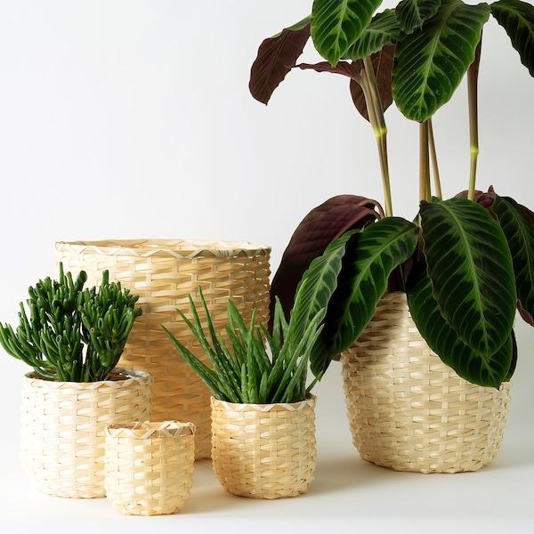 "KAFFEBÖNA plant pot bamboo 4 ¼ "" 5 "" 4 ¼ "" 4 ¾ """