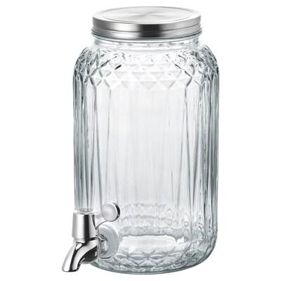 "KALASFINT beverage dispenser clear glass 9 ¾ "" 6 "" 3.2 qt"