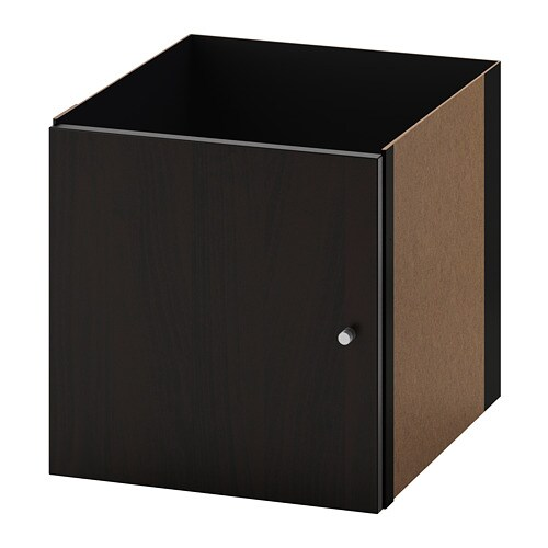 kallax insert with door black brown ikea. Black Bedroom Furniture Sets. Home Design Ideas