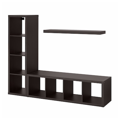 KALLAX / LACK Storage combination with shelf, black-brown, 74 3/8x15 3/8x57 7/8 ""